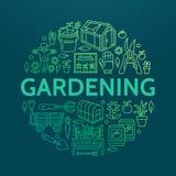 Cultivando un huerto, plantando la bandera de la horticultura con la línea icono del vector Equipo de jardín, semillas orgánicas, Foto de archivo