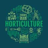 Cultivando un huerto, plantando la bandera de la horticultura con la línea icono del vector Equipo de jardín, semillas orgánicas, Imagenes de archivo