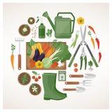 Cultivando un huerto y cultivando concepto libre illustration
