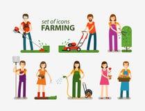 Cultivando y cultivando un huerto, sistema de la horticultura de iconos Gente en el trabajo sobre la granja Ilustración del vecto Foto de archivo libre de regalías
