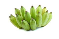 Cultivate green banana isolate white background Royalty Free Stock Photos