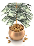 Cultivate Money. Cultivating US dollars in a pot full of gold coins. Concept of making money Royalty Free Stock Photos