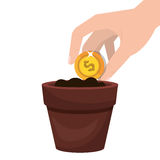 Cultivate money in pot. Vector illustration design Stock Images