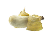 Cultivated banana - tropical fruit open peel on white Stock Photo