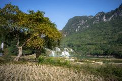 Cultivated farmland in dry season in Cao Bang province with Ban Gioc waterfall in north of Vietnam.  Royalty Free Stock Images