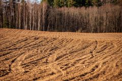 Cultivated fields in countryside with dark and wet soil for agriculture. Tractor made plotting furrows on the ground stock photography