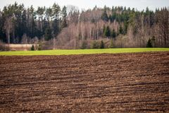 Cultivated fields in countryside with dark and wet soil for agriculture. Tractor made plotting furrows on the ground stock photo