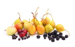 Cultivated fruits on white Stock Images