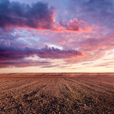 Cultivated land and cloud formations at sunset Stock Photo