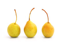 Cultivated pears on white Stock Photo