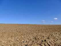 Cultivated ploughed field under blue sky and some clouds. Cultivated ploughed field with plough tracks under blue sky and some clouds Stock Photo