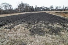 Cultivated soil for sowing grain, spring growing season. Against the backdrop of rural areas royalty free stock images