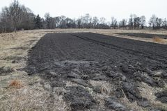 Cultivated soil for sowing grain, spring growing season. Against the backdrop of rural areas royalty free stock photo