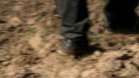 Cultivateur agricole labourant la terre au travail banque de vidéos