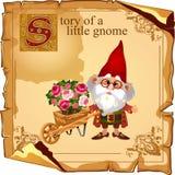 Cultivateur de gnome de magicien avec des bouquets de fleur Photos stock