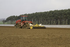 Cultivating land ready for drilling Maize Stock Image