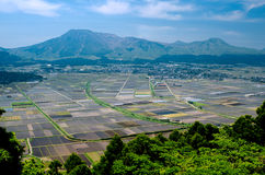Cultivation area and mountains Stock Photography