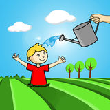 Cultivation / growth concept. Illustration of an adult watering a child that comes out from the fields Stock Images
