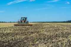 Cultivation of the soil after harvesting rapeseed by a disc drive, which interrupts the remains of plants stock photography