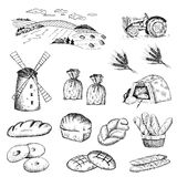 Cultivation of wheat and bread baking. Set stock illustration