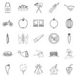 Cultivator icons set, outline style. Cultivator icons set. Outline set of 25 cultivator vector icons for web isolated on white background Stock Photo