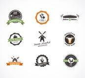 Cultive ícones, etiquetas e crachás do vetor do alimento Fotos de Stock Royalty Free
