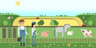 Cultive animais de exploração agrícola da terra, camas, trabalhadores Fotografia de Stock