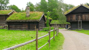 cultive con el tejado norwagian hermoso de la hierba verde de pueblo, Noruega, 4k metrajes