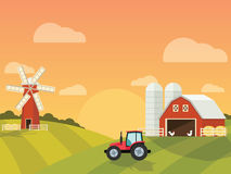 Cultive con un molino y un tractor en las colinas verdes stock de ilustración