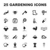 Cultive, cultivando un huerto 25 iconos simples negros fijados para el web Fotos de archivo libres de regalías