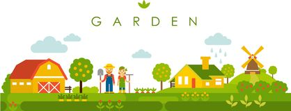 Cultive el fondo panorámico del paisaje del jardín en estilo plano ilustración del vector