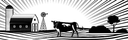 Cultive el granero con el molino de viento y la vaca en paisaje del campo con las colinas y los campos libre illustration