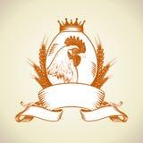 Cultive el logotipo con la gallina, el huevo y el trigo stock de ilustración