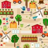 Cultive el modelo inconsútil con el tractor y las camas, manzana ilustración del vector