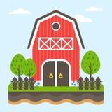 Cultive el paisaje El granero en vista delantera rodeado por los árboles Corte de la tierra Fotos de archivo