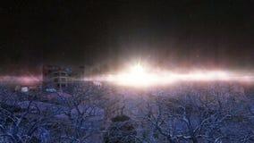 Cultive en el desierto fuera de la ciudad con los árboles absolutamente en la noche ilustración del vector