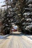 Cultive en el extremo de un camino nevado Imágenes de archivo libres de regalías