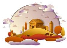 Cultive en el paisaje escénico del otoño de campos y los árboles y c de madera ilustración del vector