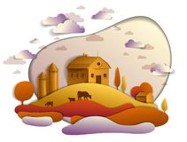 Cultive en el paisaje escénico del otoño de campos y los árboles y c de madera stock de ilustración