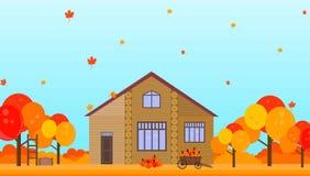 Cultive la casa en ejemplos del vector del fondo de la estación del otoño Imagen de archivo