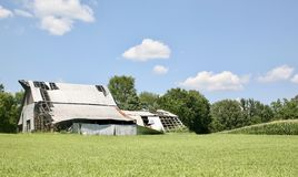 Cultive la casa en un campo de la hierba verde Fotos de archivo