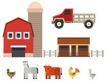 Cultive la comida de la naturaleza del ejemplo del vector del icono que cosecha caracteres de los animales de la agricultura del  Imágenes de archivo libres de regalías