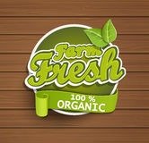 Cultive la escritura de la etiqueta fresca stock de ilustración