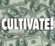 Cultive las letras de la palabra 3d que el fondo del dinero crece riqueza ilustración del vector
