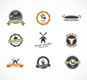 Cultive los iconos, las etiquetas y las insignias del vector de la comida Fotos de archivo libres de regalías