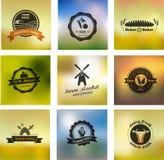 Cultive los iconos, las etiquetas y las insignias del vector de la comida stock de ilustración
