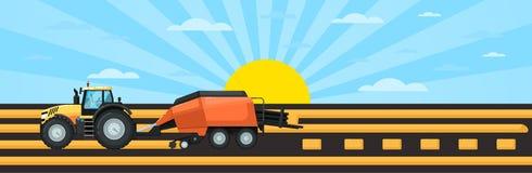 Cultive los vehículos en el trabajo en el campo que cosecha el heno ilustración del vector