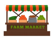 Cultive o ícone isolado do vetor da tenda da cabine do vendedor do fruto ou do vegetal do mercado projeto liso ilustração do vetor