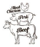 Cultive, a produção animal, criação de animais de gado, fazenda de criação Carne, carne de porco e carne da galinha Vaca, porco,  Imagem de Stock