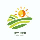 Cultive y cultivando el logotipo, etiqueta, diseño del emblema Ejemplo aislado de campos libre illustration